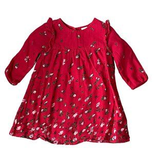 Old Navy Red Floral Print Ruffle Dress
